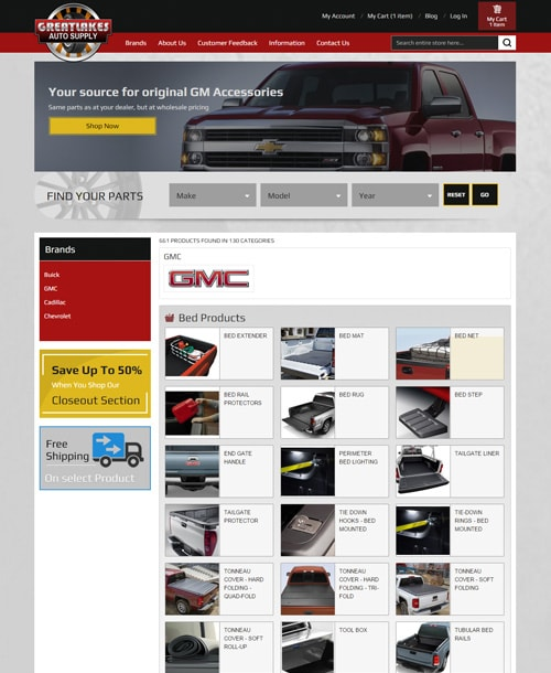 automobile accessories magento template category listing page