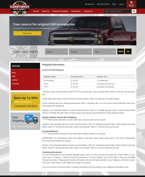 automobile accessories magento template cms page
