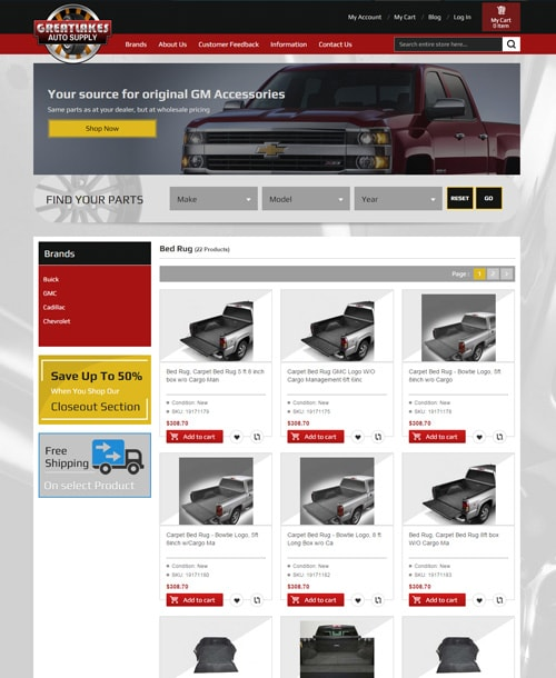 automobile accessories magento template product listing page