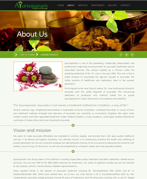 ayurveda responsive website template about page