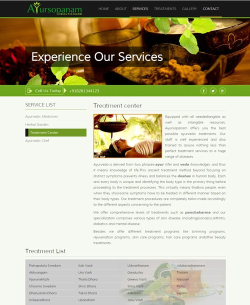ayurveda responsive website template treatment center page