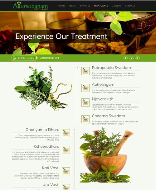 ayurveda responsive website template treatment page