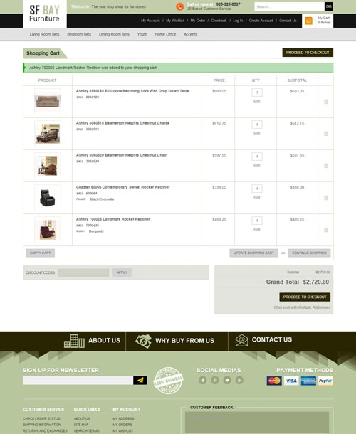 furniture store magento template checkout page