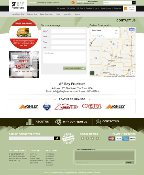 furniture store magento template contact page