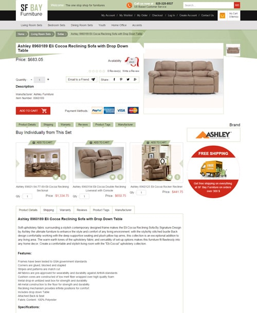 furniture store magento template product description page