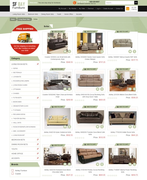 furniture store magento template product listing page