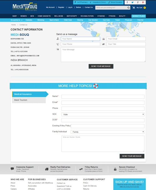 medical store magento template contact page