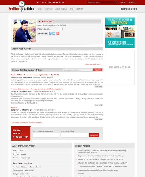 responsive article website template author profile page
