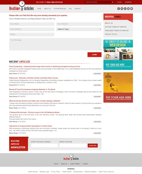 responsive article website template contact page