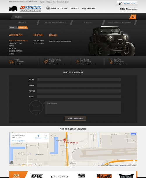 vehicle accessories magento template contact page