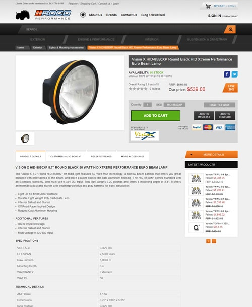vehicle accessories magento template description page
