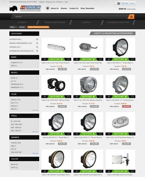 vehicle accessories magento template product listing page