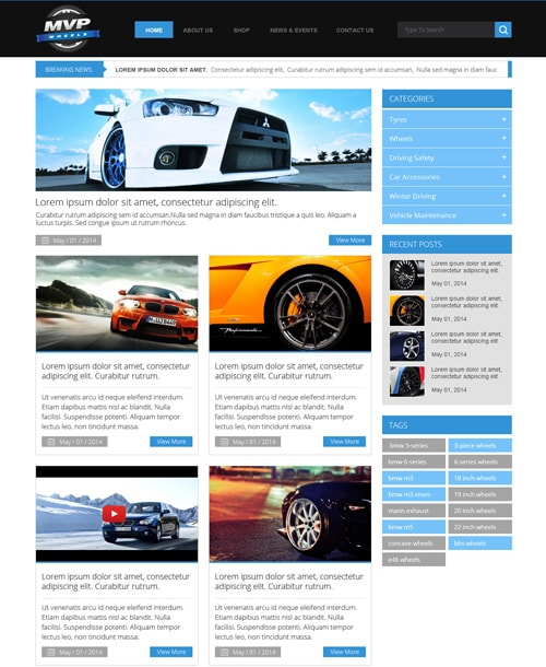 wheels blog template home page