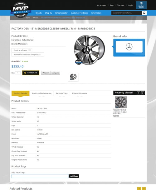 wheels store magento template description page